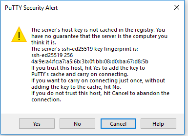 putty server login fingerprint check