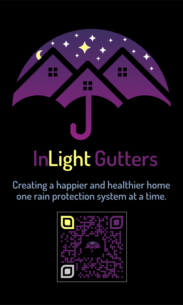 back of inlight gutters business card