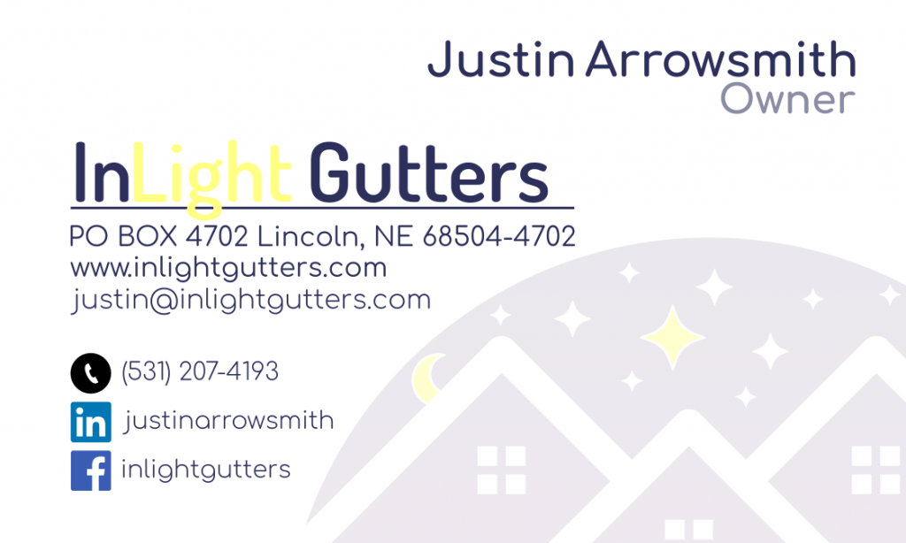 Front of inlight gutter business card