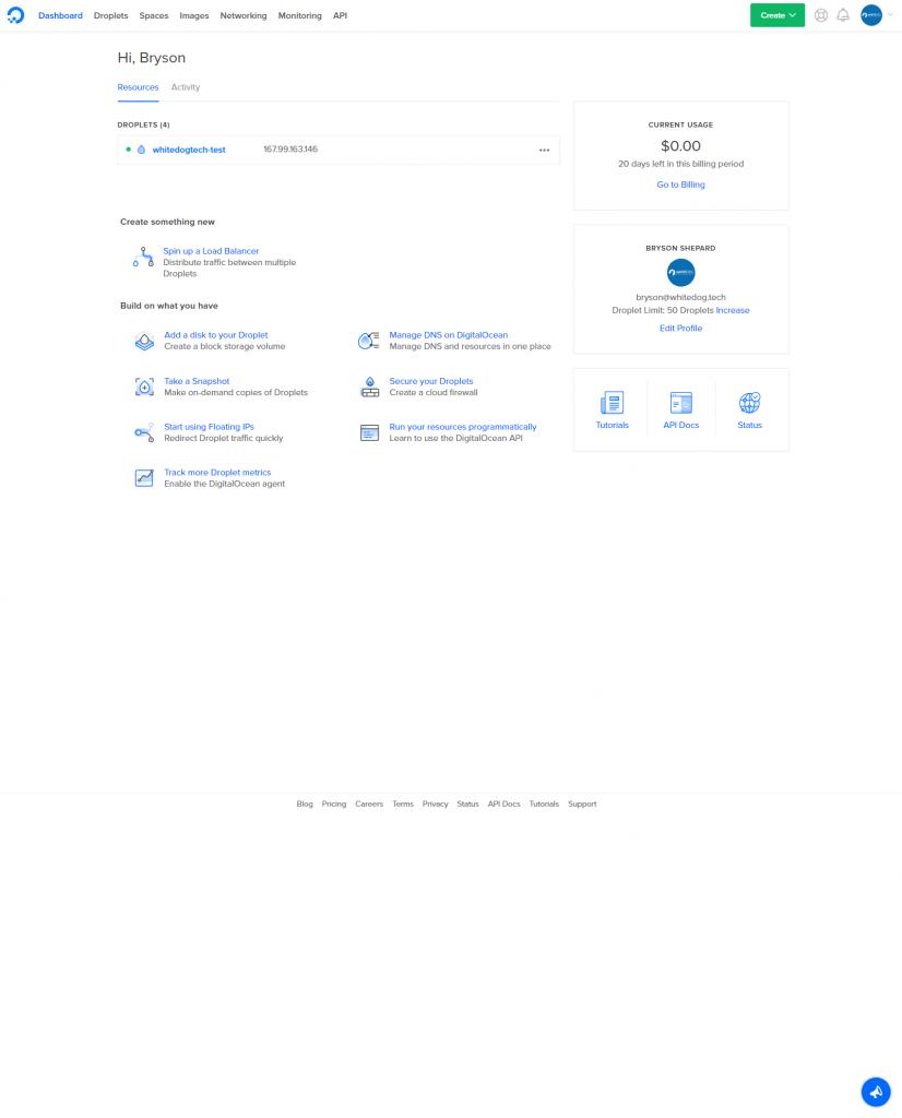 DigitalOcean Dashboard