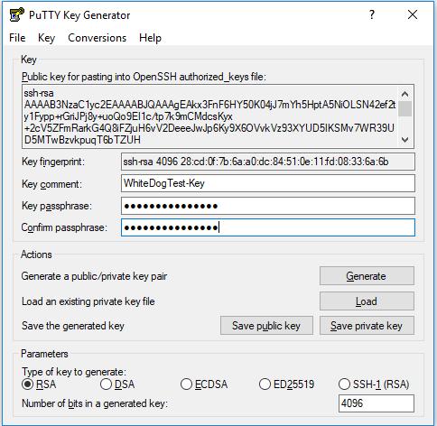 Generated key file, puttyGen