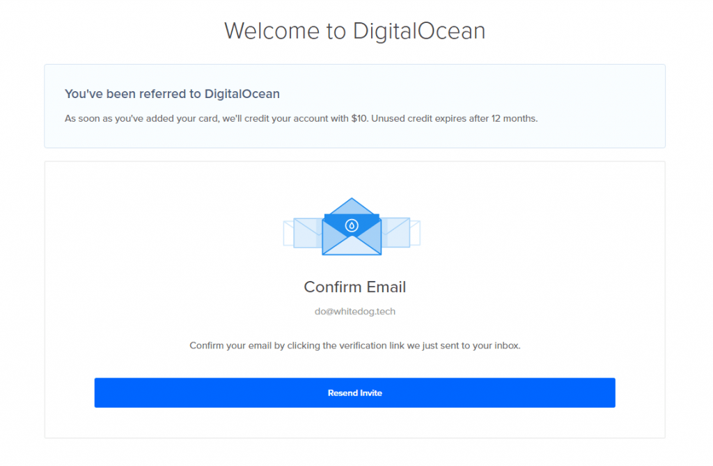 Verify email page from DigitalOcean